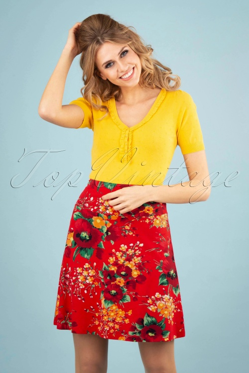 King Louie 27229 Fiery Red Border Skirt Splendid  20181113 0100W