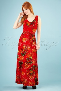 60s Anna Splendid Maxi Dress in Fiery Red
