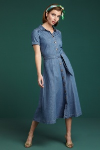 King Louie 60s Olive Chambray Dress in River Blue
