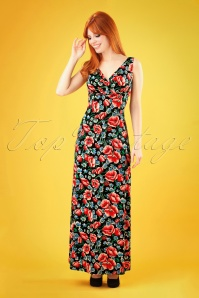 King Louie Ginger Flora Maxi Dress Années 70 en Noir