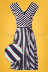 King Louie 70s Mira Scope Dress in Rimini Stripe Blue