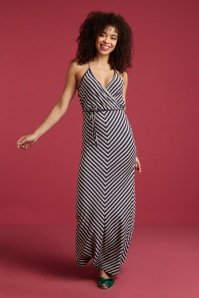 King Louie 70s Rimini Stripe Halter Maxi Dress in Blue