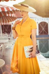 Caterina Swing Dress Années 50 en Jaune Moutarde
