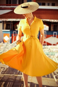 Collectif Clothing 29978 Caterina Vintage Mustard Yellow Cotton Swing 20190305 030i