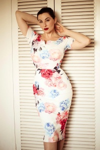 Guapa Floral Pencil Dress Années 50 en Ivoire