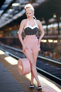50s Polka Love Halter Top in Black