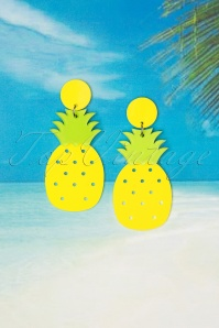 60s Winnie Pineapple Earrings in Yellow