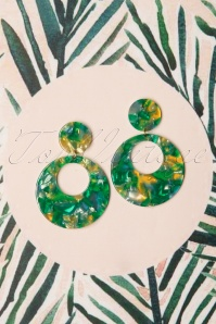 50s Eeva Hoop Earrings in Green