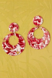 50s Eeva Hoop Earrings in Red