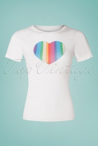 50s Rainbow Love T-Shirt in White