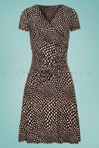 60s Petra Dots Dress in Beige and Black