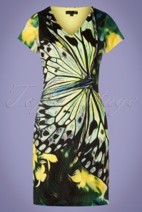 60s Babette Butterfly Pencil Dress in Green