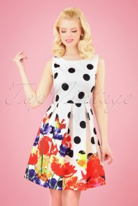 Smashed Lemon 27745 White Big Dot Floral Dress 1W