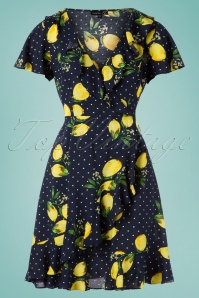 Smashed Lemon 60s Lia Lemon Dress in Navy