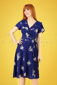 60s Feline Floral Dress in Cobalt
