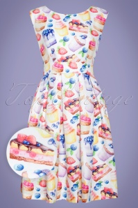 50s Valerie Cupcakes Swing Dress in Ivory