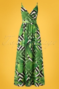 70s Janine Leafs Maxi Dress in Black and White
