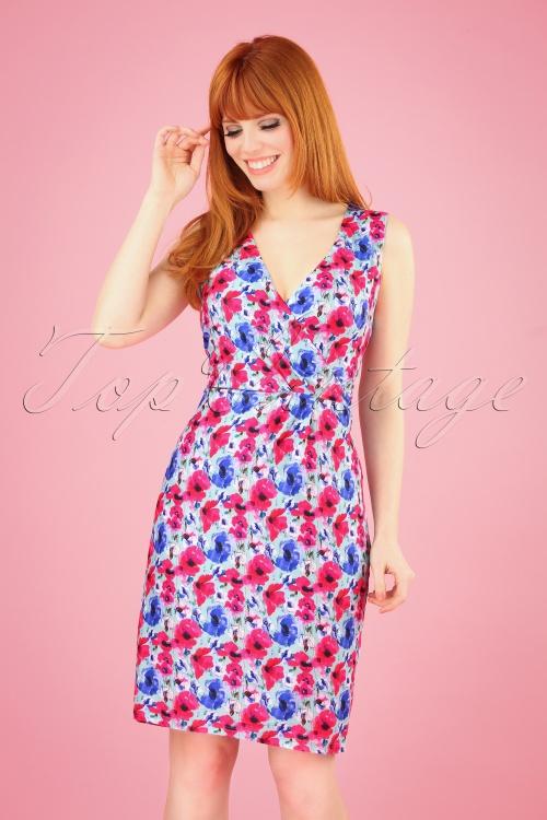 Smashed Lemon 27761 Mint Fuchsia Floral Dress 1W