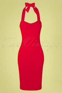 50s Adalynn Pencil Dress in Lipstick Red