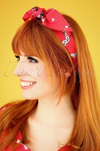50s Hands Up Streetdogs Hairwrap in Red