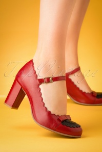 60s Penelope Mary Jane Pumps in Red