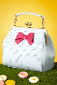TopVintage Boutique Collection 50s Mindy Spot The Dots Handbag in Sky Blue