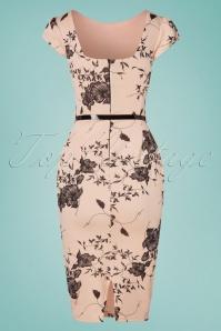 Vintage Chic 28764 Nude Floral Pencil Dress 20190327 008W
