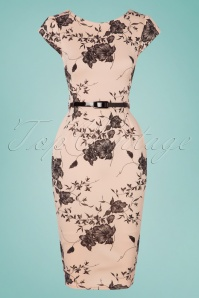 50s Nadine Floral Pencil Dress in Nude