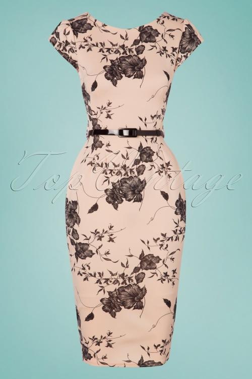 Vintage Chic 28764 Nude Floral Pencil Dress 20190327 002W