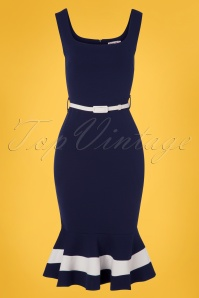 Vintage Chic 29042 Navy White Sailor Fishtail Dress 20190327 004W
