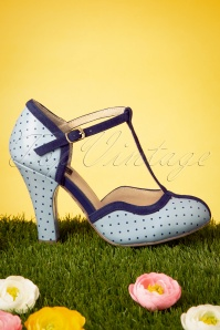Topvintage Boutique Collection 28406 Heels Blue Polkadot Darkblue Tstrap 20190227 019