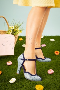 TopVintage Boutique Collection June Pin Down The Dots T-Strap Pumps Années 50 en Bleu Ciel