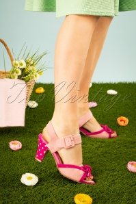 50s Ava Say Wow To the Bow Sandals in Dusty Pink