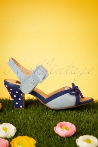 TopVintage Boutique Collection 50s Ava Say Wow To the Bow Sandals in Sky Blue