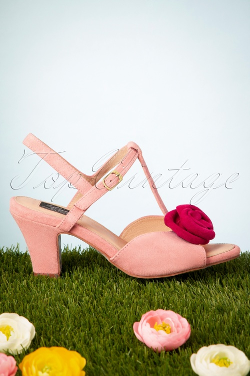Topvintage Boutique Collection 28415 Pink Heels Rose Tstrap Shoes LolaRamona 20190227 015