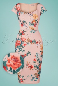 50s Ruby Bouquet Pencil Dress in Pink