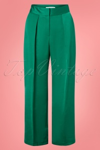 Closet London 70s Robyn Pleated Trousers in Emerald Green