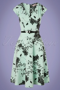 50s Raelynn Floral Swing Dress in Mint