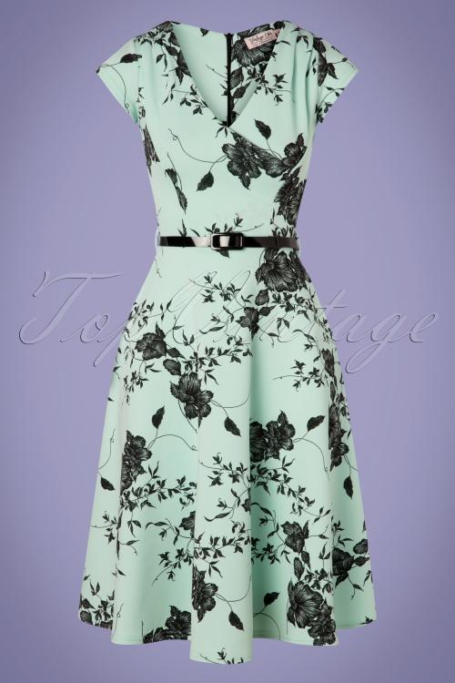 Vintage Chic 28765 Mint Floral Pencil Dress 20190327 002W