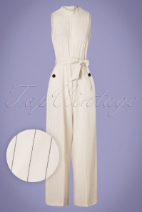 70s Maisie Stripes Jumpsuit in Ivory White
