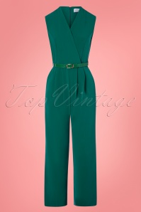 Closet London 70s Seam Jumpsuit in Teal Green