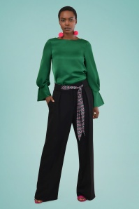70s Megan Pleated Trousers in Black