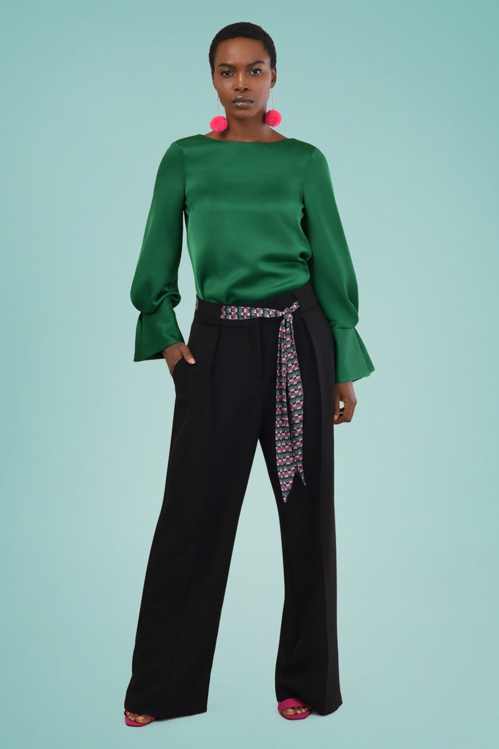 60s – 70s Pants, Jeans, Hippie, Bell Bottoms, Jumpsuits 70s Megan Pleated Trousers in Black �58.22 AT vintagedancer.com
