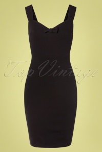 Amara Bow Pencil Dress Années 50 en Noir