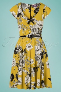 TopVintage Boutique Collection 28925 Mustard Floral Dress 20190327 002W