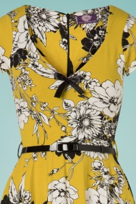 TopVintage Boutique Collection 28925 Mustard Floral Dress 20190327 002V