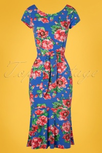 7e4727609bca1b ... TopVintage Boutique Collection 28930 Blue Floral Bow Dress 20190327 001W