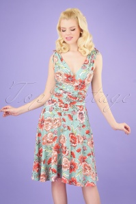 50s Grecian Floral Dress in Sage Coral