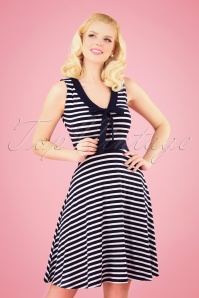 50s Malia Stripes Dress in Navy and White