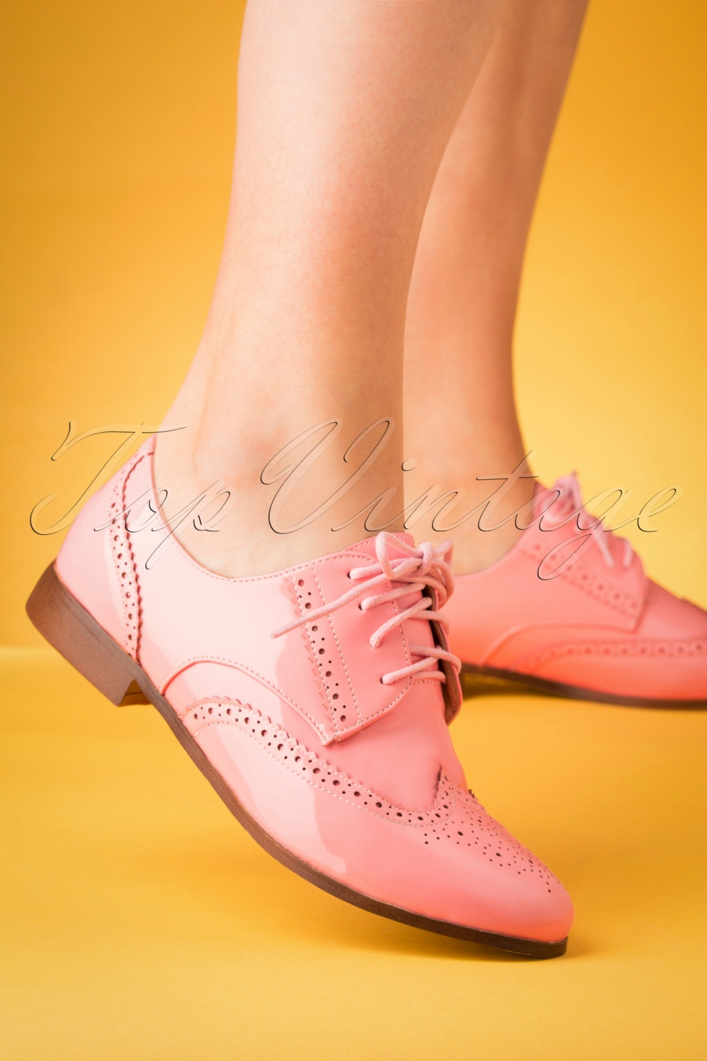 Vintage Style Shoes, Vintage Inspired Shoes 60s Brighton Brogue Shoes in Pastel Pink £64.76 AT vintagedancer.com